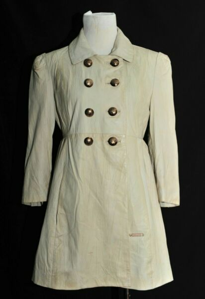 Great Women#x27;s girls Thomas Burberry White Leather short coat 3 4 sleeve Small GBP 145.00