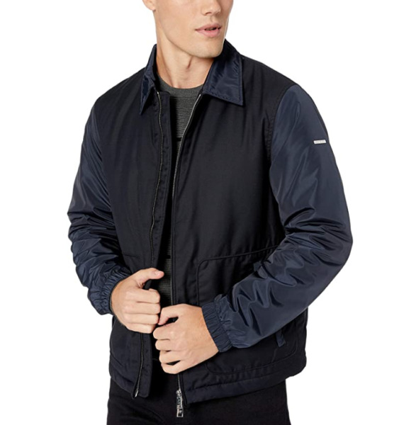 A X Armani Exchange Men#x27;s Zip Up Bomber Style Jacket with Collar Navy L $99.99
