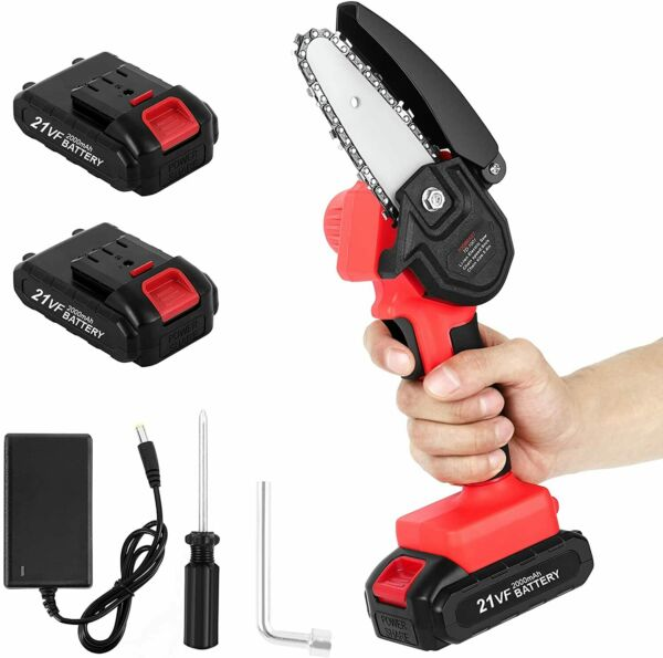 Cordless Electric Chain Saw Wood Cutter Mini One Hand Saw Woodworking 2 Battery $42.00