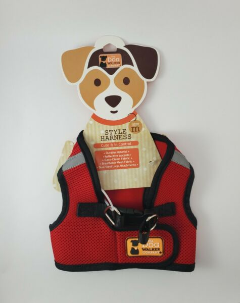 THE DOG WALKER COMPANY MESH RED HARNESS PUPPY DOG MEDIUM FREE SHIPPING $19.00