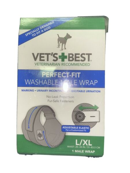 New Vet#x27;s Best Perfect Fit Washable Dog Male Wrap L XL Fast FREE SHIPPING $27.97