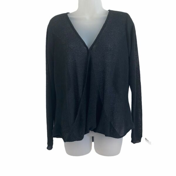 Out From Under Small Top Black Thin Knit Wrap Front Long Sleeve Urban Outfitters $13.99