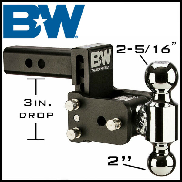 Bamp;W Tow amp; Stow Adjustable Dual Ball Mount 2quot; Receiver Hitch 2quot; 2 5 16quot; Balls