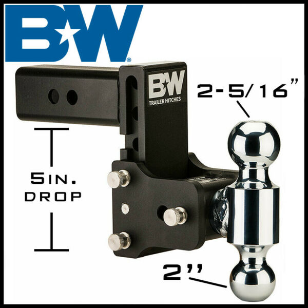 Bamp;W Tow amp; Stow Trailer Hitch Dual Ball Mount 2.5quot; Receiver 2quot; 2 5 16quot; Balls
