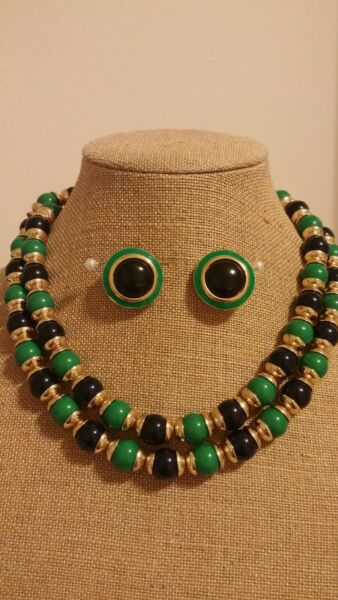 Banana Republic Green Black Gold Toned Double Stand Statement Necklace And Fashi $29.99