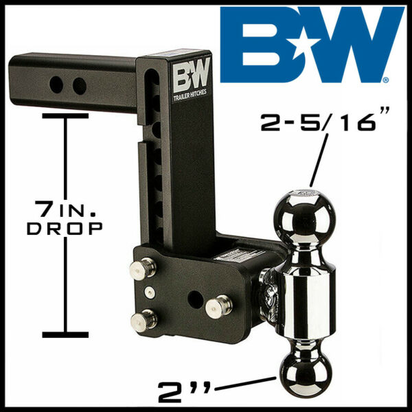 Bamp;W Tow amp; Stow Adjustable 2quot; Receiver Hitch w 2quot; 2 5 16quot; Dual Ball Mount