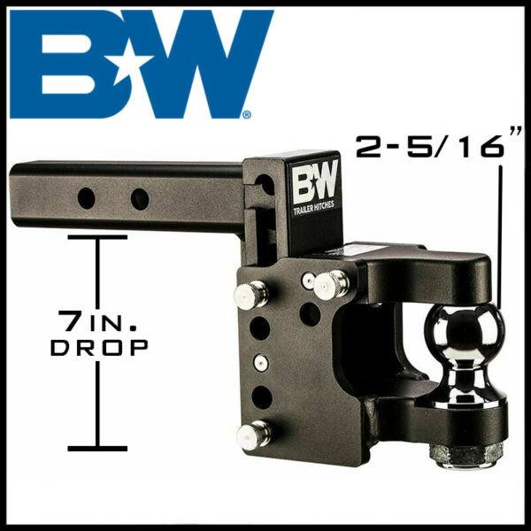 Bamp;W Tow amp; Stow Pintle 2quot; Receiver Hitch 8.5quot; Drop w 2 5 16quot; Ball Mount