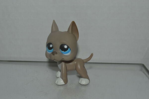 Littlest Pet Shop #184 Great Dane Puppy Dog Gray White Red Magnet Authentic $18.99