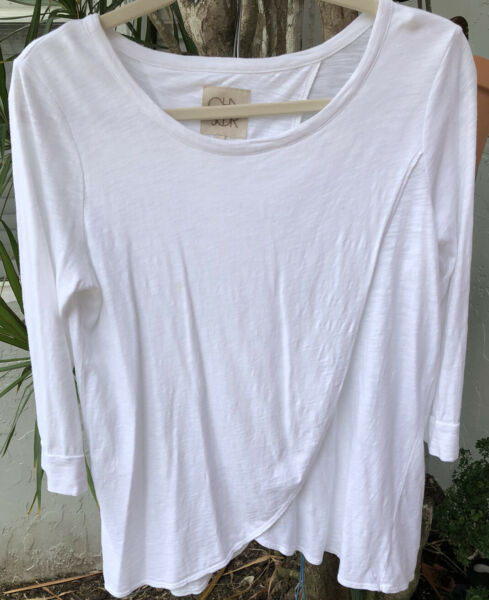 Cha Sor SZ S White Wrap Panel In Front And Back 3 4 Sleeve Cotton Modal Tee NEW $21.95