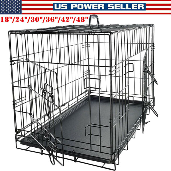 Extra Large Dog Crate Kennel 48quot; Folding Pet Cage Metal w 2 Doors amp;Tray 42quot; 24quot; $95.29