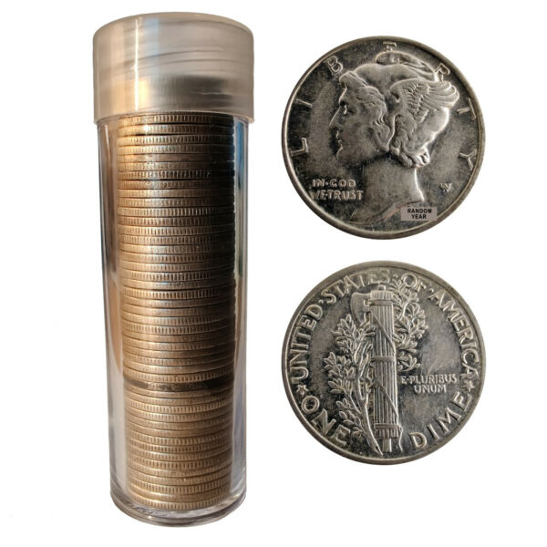 Lot of 50 Mercury Dimes includes Tube 1916 1945 90% Silver $126.19