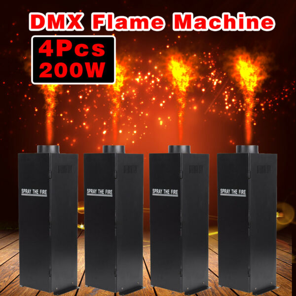 4Pc DMX Fire Effect Projector Spray Machine DJ Stage Show Party Flame Thrower