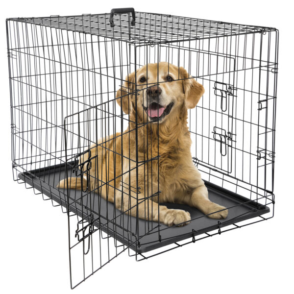 24quot; 36quot; 42quot; Dog Crate Kennel Folding Metal Pet Cage 2 Door With Tray Pan Black $51.99