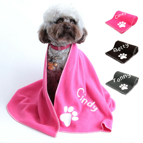 Personalized Dog Blankets with Name and Paw Print Soft Fleece Comfortable Towel $13.99