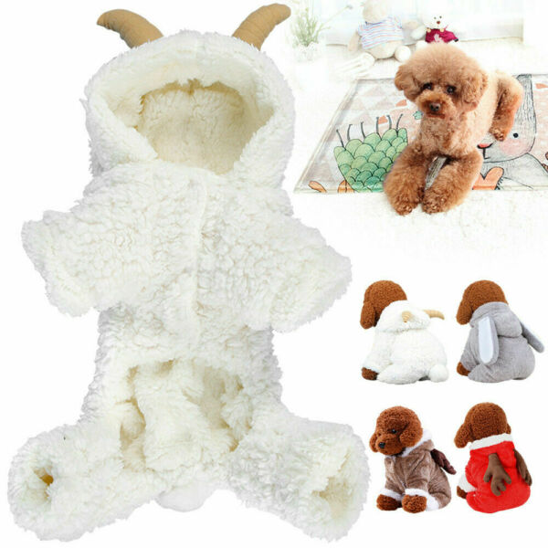 Pet Dog Christmas Elk Sheep Costume Coral Velvet Fleece Hoodie Clothes for Dogs $8.99