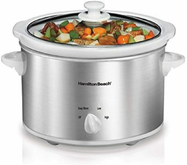 4 Quart Slow Cooker with Dishwasher Safe Stoneware Crock amp; Lid Stainless Steel