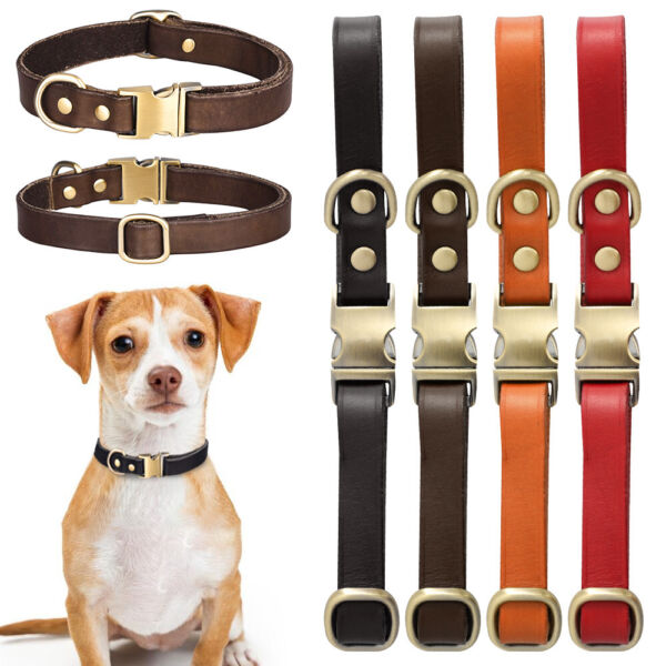 Pet Genuine Real Leather Collar Dog Cat Puppy Neck Buckle Neaklace Adjustable US $10.73