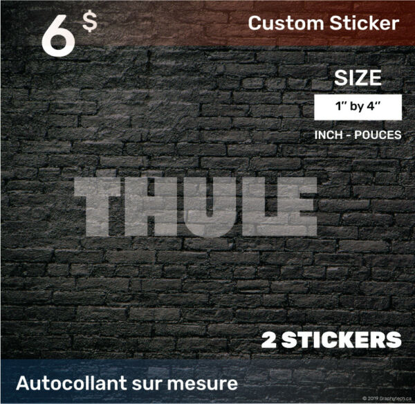 1 by 4 inch Sticker Decal Compatible THULE 2x white C $6.00