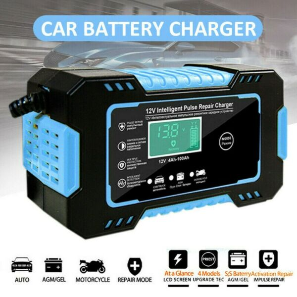 Portable Smart Car Battery Charger Automatic Pulse Repair 12V AGM GEL Motorcycle $19.88