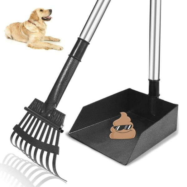 TNELTUEB Dog Pooper Scooper Metal Pet Poop Tray and Rake with Long Stain... New $24.50