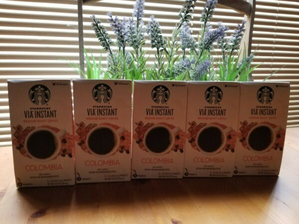 Starbucks coffee 60 packets 5 BOXES via instant Colombia exp Oct 2021