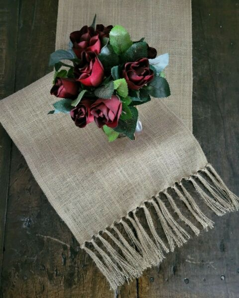 Natural Beige Burlap Table Runner with Tied Fringed Ends Rustic Farmhouse Style