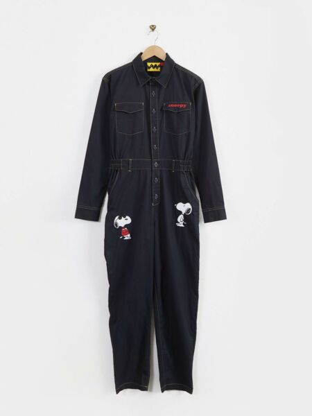 Lazy Oaf X Peanuts Boiler Suit Snoopy Navy Button Up Long Sleeve Jumpsuit Size 6 GBP 32.99