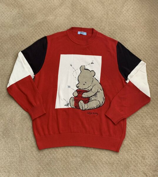 Iceberg History Winnie the Pooh Sweater Pullover Red Vtg Disney Large $378.50