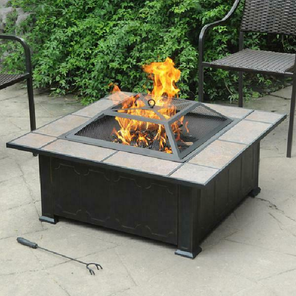 Outdoor Wood Fire Pit Backyard Fireplace Tuscan Ceramic Tile Top Antique Bronze $138.95