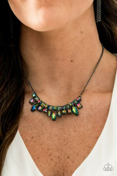 Paparazzi oil spill Wish Upon a Rock Star necklace iridescent mermaid gunmetal