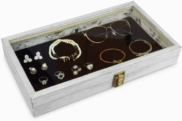 Mooca Wood Glass Top Jewelry Display Case Wooden Jewelry Tray for Collectibles $28.98