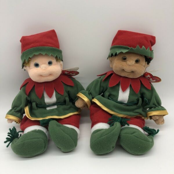 Ty Beanie Babies In Christmas Elf costumes Boomer amp; Cutie With Tags