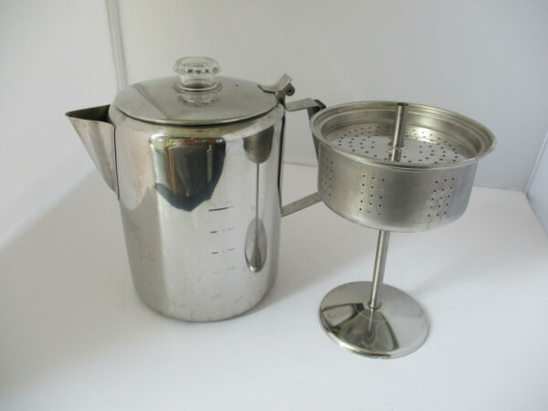 Percolator 12 Cup Stove Top Coffee Pot Camping 18 8 Stainless Steel