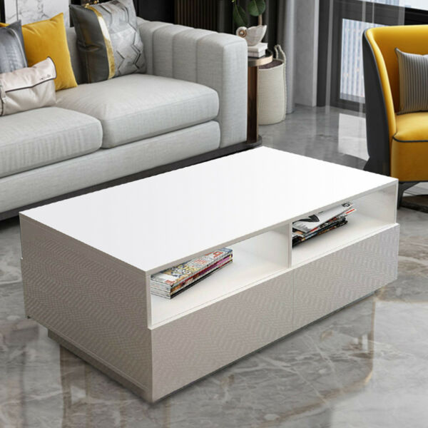 LED White Coffee Table High Gloss with 4 Drawer Side Table Living Room Furniture