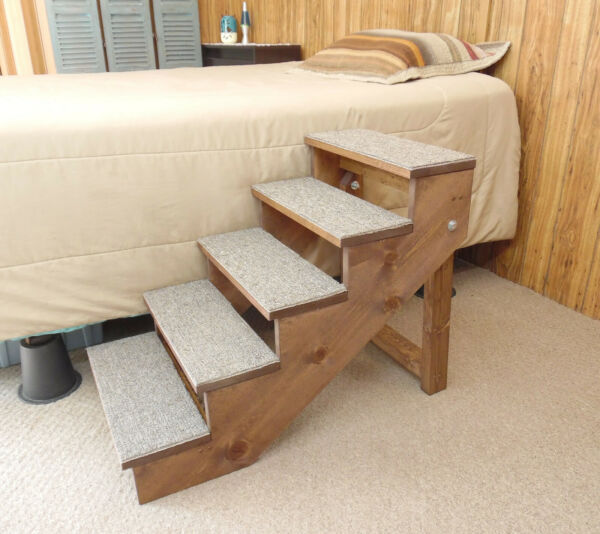 Handmade Wood Pet Steps Folding 18quot; 36quot; High 12 16quot; Wide Dog Stairs Tall Bed $190.00
