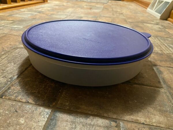 Tupperware Cupcake Carrier 12quot; Round Container Blue Lid