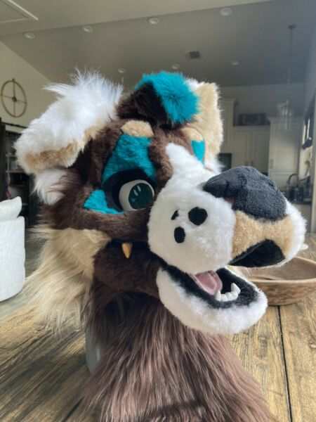 fursuit head wolf dog cheap furry blue brown cute great quality S M mask $450.00
