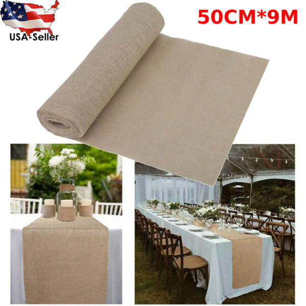 Hessian Rustic Burlap Table Runner Wedding Banquet Party Dinner Table Decor nM