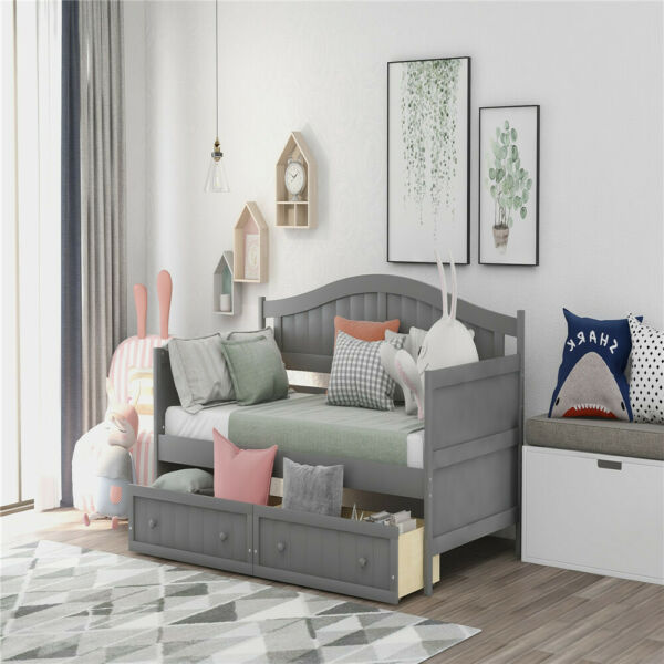 1pc Wooden Daybed with Trundle Bed Sofa Bed for Bedroom Living Room Twin Size $388.09