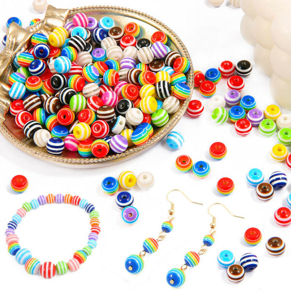 50Pcs 6mm Stripe Rainbow Loose Beads DIY For Jewelry Making Pendant Candy Color C $1.49