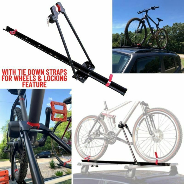 Bike Rack for Car Roof Universal Upright Single Bicycle Carrier Trailer Lockable $64.33