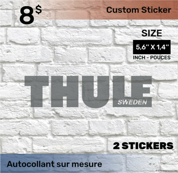 1.4 by 5.6 inch Sticker Decal Compatible THULE 2x black C $8.00