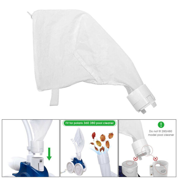 Polyester Pool Cleaner Bag for Polaris Replacement Bag Zipper Bag White $9.45