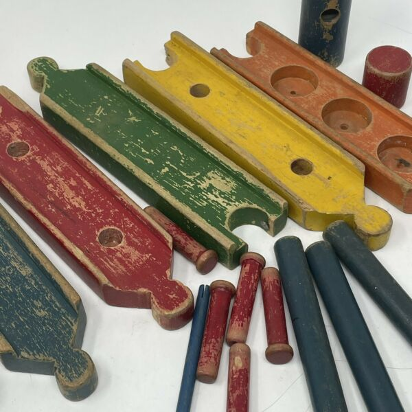 21 Pc Vintage Worn Aged Colorful Geometric Shapes Toy Play Building Wood Blocks