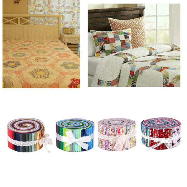 36Pack Colorful Cotton Fabric Strips Bundle Sewing Quilting DIY Craft Fabric
