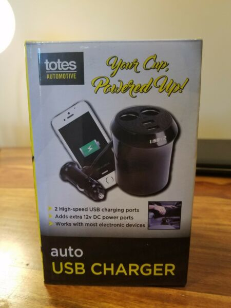 TOTES Powered Up Cup Auto Charger With 2 USB ports amp; 2 12V DC Power Ports NEW $14.99