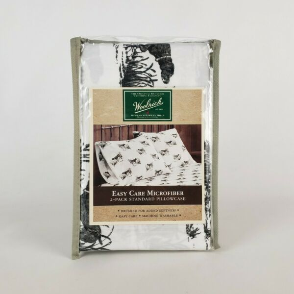 Woolrich Microfiber Pillowcases 2 Pack Hunting Dog Tall Grass White Grey New $14.99