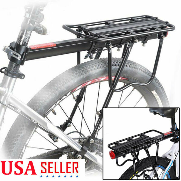Rear Bike Rack Heavy Duty Alloy Bicycle Carrier 110 Lb Capacity w Quick Release $27.79