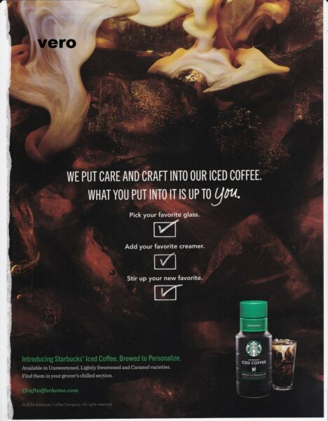 2014 magazine ad STARBUCKS iced coffee advertisement print clipping introduction