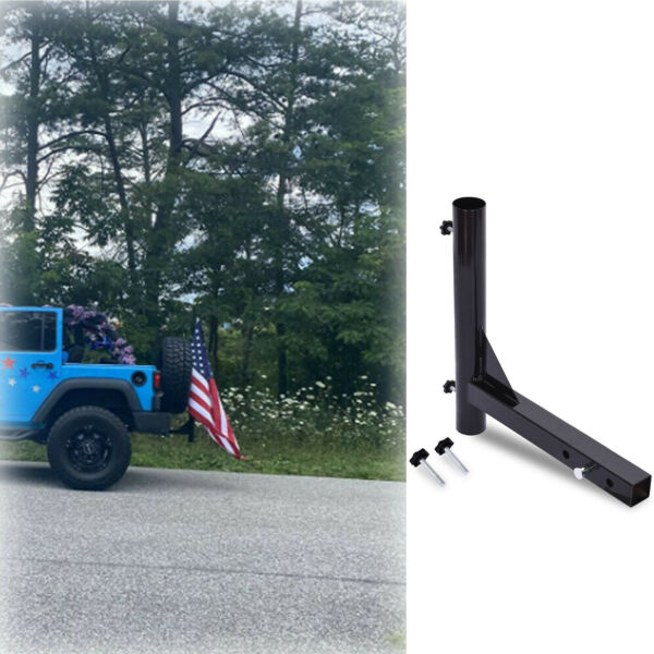2quot; Single Hitch Mount Flag Pole Holder Truck Car SUV With Mount Hardware NEW Set $36.56